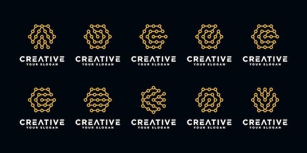 Set di modello di progettazione di logo di tecnologia lettera creativa