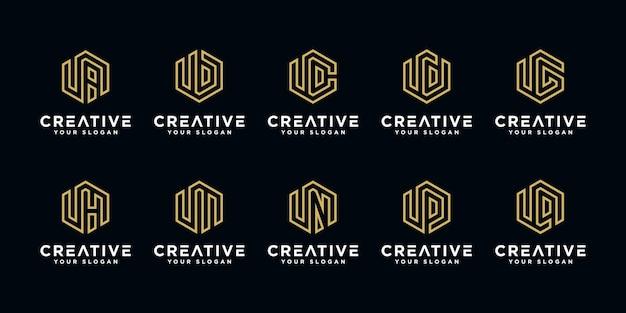 Set di modello di progettazione del logo creativo lettera u ecc