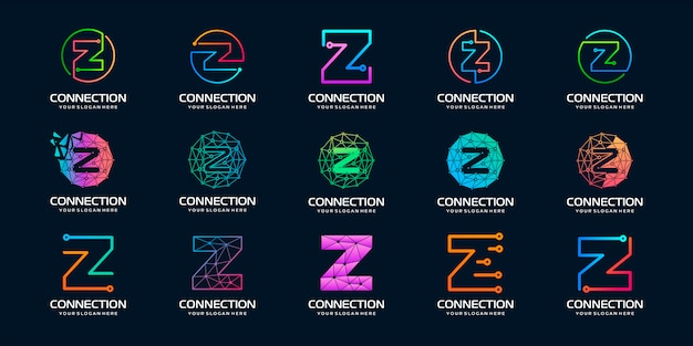 Set di lettera creativa z modern digital technology logo design.