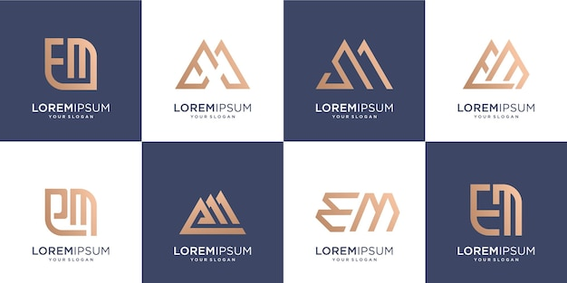 Set di lettermark creativo iniziale e e iniziale m