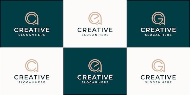 Set di lettere creative monogramma lettera e modello di logo