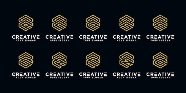 Set di lettere creative loghi modello di progettazione