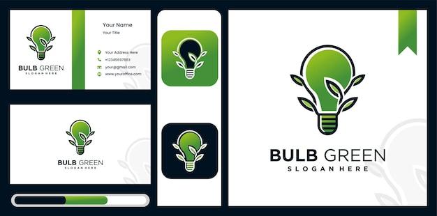 Imposta la lampada con logo creativo, segno del logo leggero ecologico