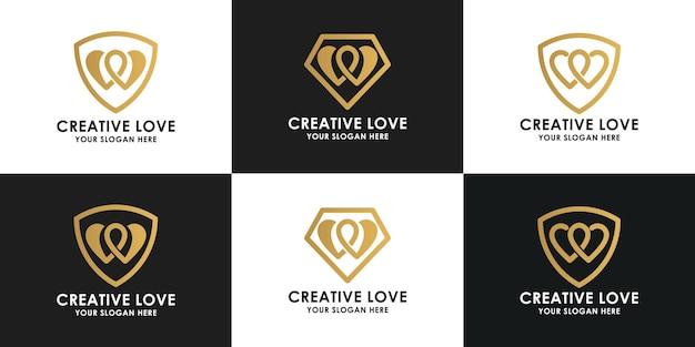 Set di design del logo della collezione di amore creativo