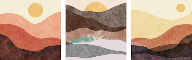 Set di dipinti a mano minimalisti creativi. sfondo di arti astratte.
