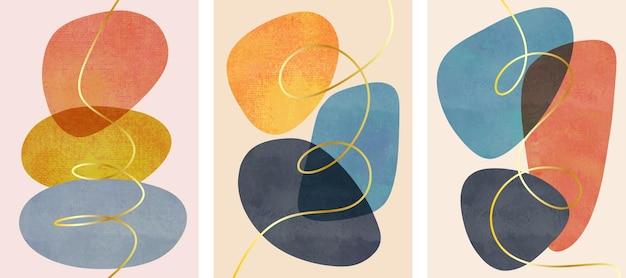 Set di dipinti a mano minimalisti creativi. disegno astratto con scarabocchi e varie forme.