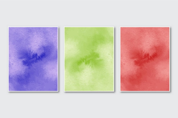Set di sfondo acquerello astratto dipinto a mano minimalista creativo