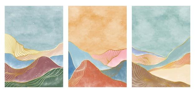 Set di illustrazioni creative dipinte a mano minimaliste della metà del secolo moderno. stampa d'arte al tratto. paesaggi estetici contemporanei astratti della montagna degli ambiti di provenienza. illustrazioni vettoriali
