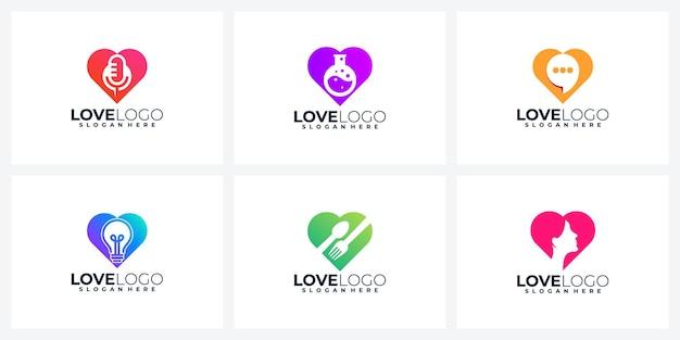 Set di modello di progettazione logo cuore moderno creativo