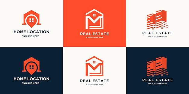 Set di logo immobiliare moderno creativo