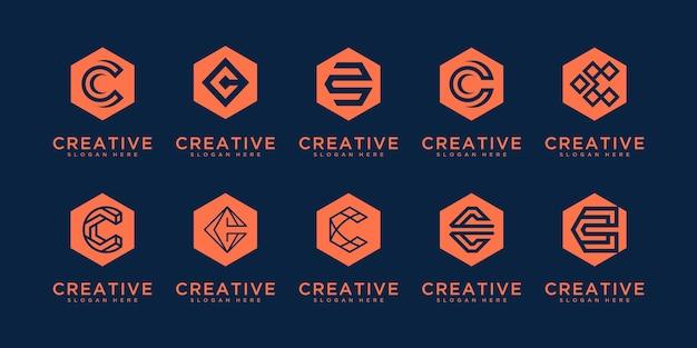Set di lettera iniziale del monogramma creativo c. modello di progettazione logo minimal moderno.