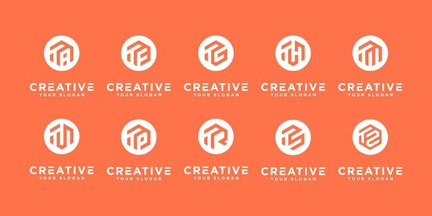 Set di icone del modello di logo t iniziale monogramma creativo per affari di moda o ecc. stampa
