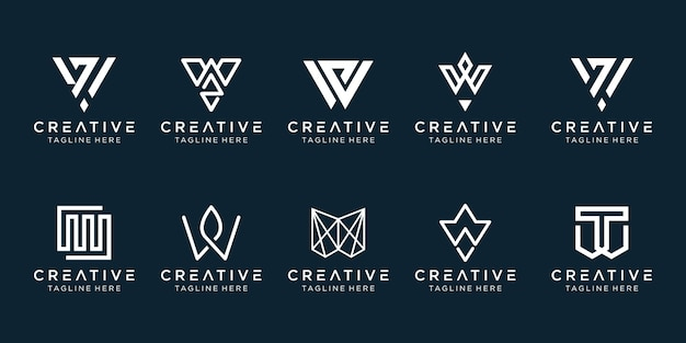 Set di modello di logo w iniziale monogramma creativo.