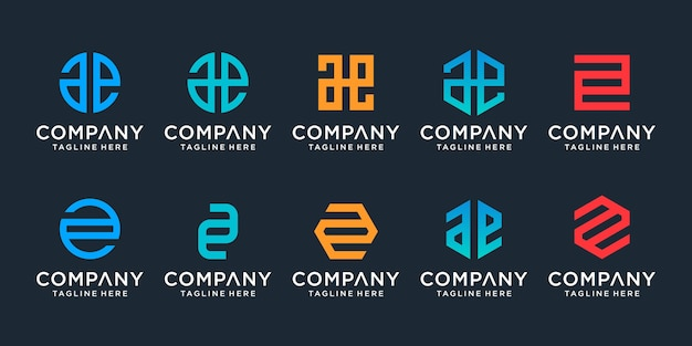 Set di modello di logo creativo monogramma lettera ae. il logo può essere utilizzato per la costruzione di società.