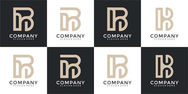 Set di ispirazione creativa per il design astratto del logo della lettera b del monogramma