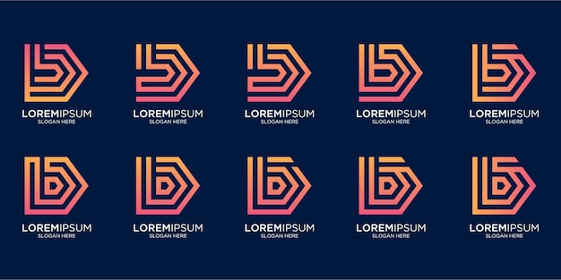 Set di monogramma creativo lettera b logo design