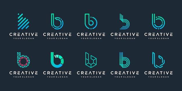 Set di modello di logo creativo monogramma lettera b. il logo può essere utilizzato per società digitali di costruzione e tecnologia.