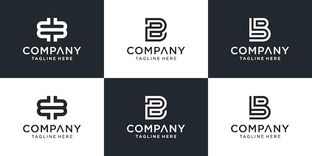 Set di monogramma creativo lettera bb logo design ispirazione