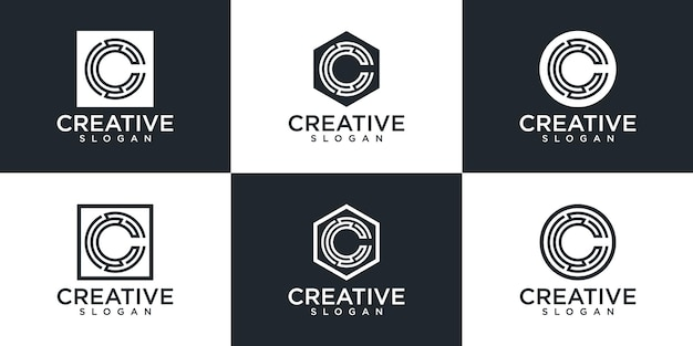 Set di monogramma creativo lettera c logo design