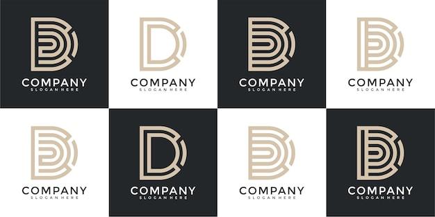 Set di monogramma creativo lettera d ispirazione per il design del logo