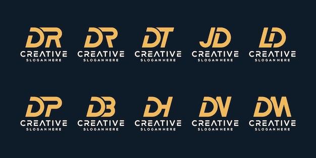 Set di modello di logo lettera d monogramma creativo Vettore Premium