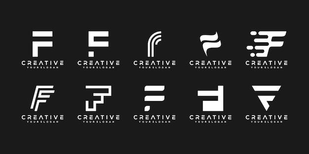 Set di modello di progettazione di logo di lettera f di monogramma creativo