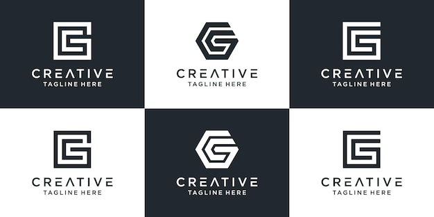 Set di modello di logo creativo monogramma lettera gc. il logo può essere utilizzato per attività commerciali e società di costruzioni.