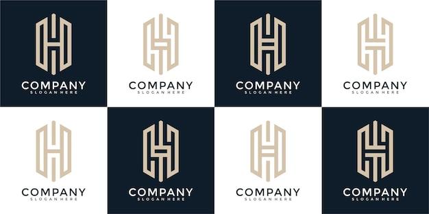 Set di monogramma creativo lettera h modello di progettazione del logo