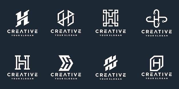 Set di loghi creativi della lettera h del monogramma