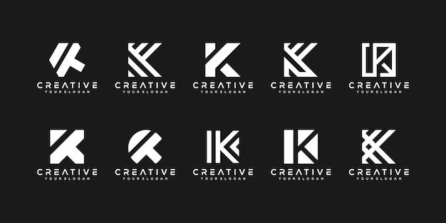 Set di modello di progettazione di logo di lettera k monogramma creativo. il logo può essere utilizzato per la costruzione di società.