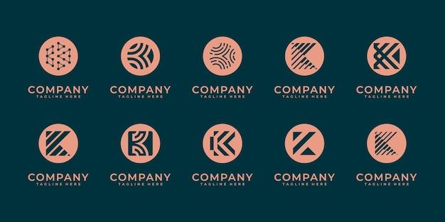 Set di modello di progettazione del logo della lettera k del monogramma creativo. il logo può essere utilizzato per l'impresa edile.