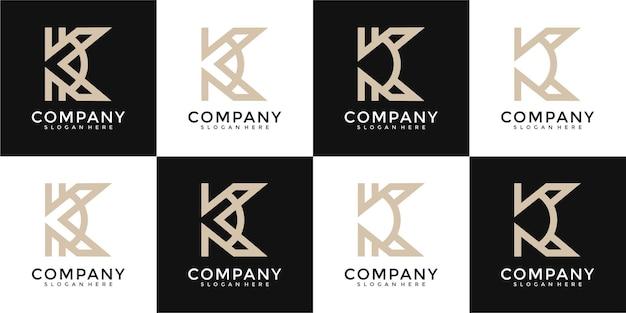 Set di modello di progettazione del logo della lettera k del monogramma creativo