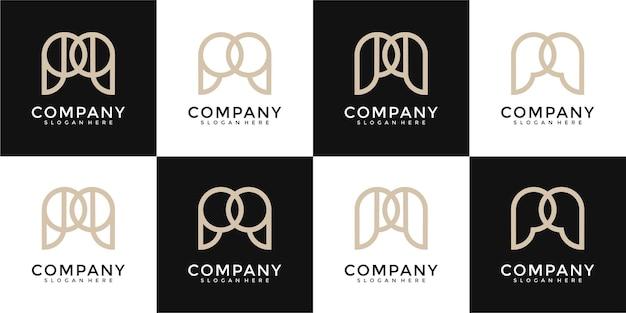 Set di monogramma creativo lettera m logo disegno astratto ispirazione
