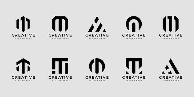 Set di modello di progettazione di logo di lettera m monogramma creativo