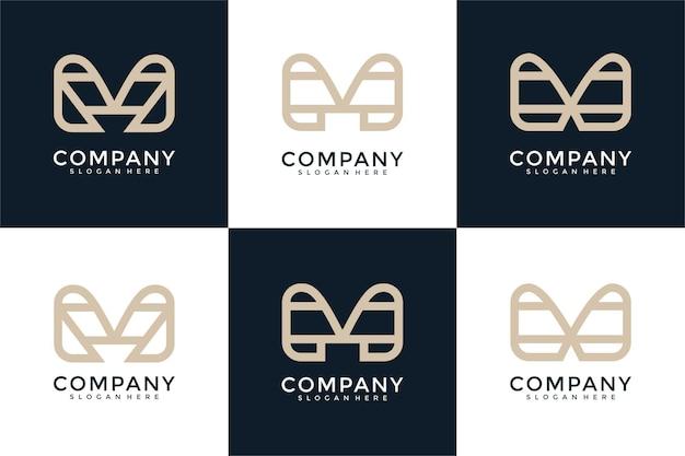 Set di monogramma creativo lettera m modello di progettazione del logo