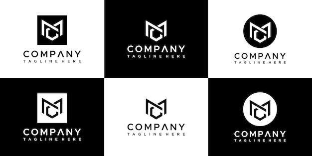 Set di monogramma creativo lettera mc logo design