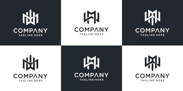 Set di monogramma creativo lettera mw logo design ispirazione