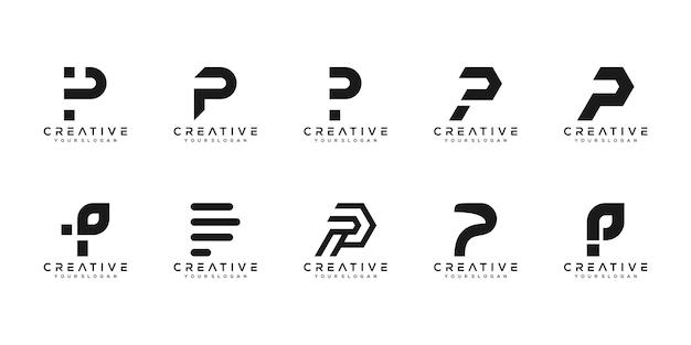 Set di modello di progettazione di logo di lettera p monogramma creativo. il logo può essere utilizzato per la costruzione di società.