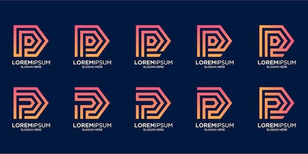 Set di monogramma creativo lettera p logo design