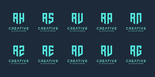 Set di monogramma creativo lettera r logo modello di progettazione