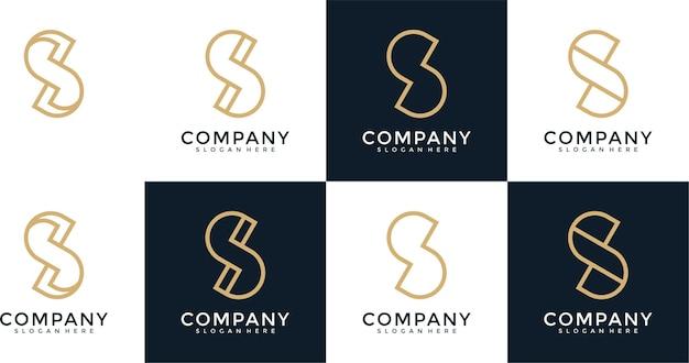 Set di modello di progettazione del logo della lettera s del monogramma creativo