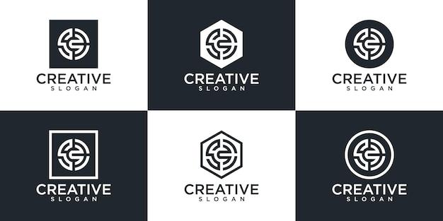 Set di monogramma creativo lettera s logo design
