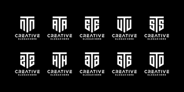 Set di modello di progettazione di logo di lettera t monogramma creativo