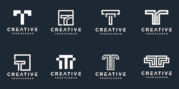 Set di loghi creativi della lettera t del monogramma