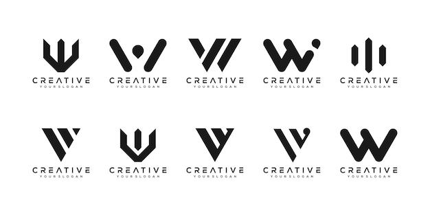 Set di modello di progettazione logo lettera w monogramma creativo. il logo può essere utilizzato per la costruzione di società.