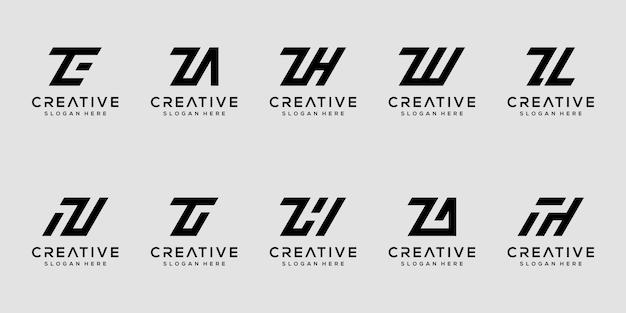Set di modello di progettazione di logo di lettera z monogramma creativo