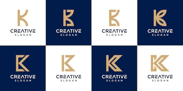 Set di modello di lettera k logo monogramma creativo vettore premium