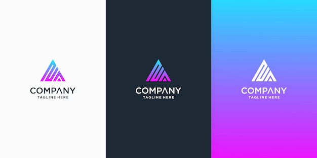 Set di modello di progettazione logo lettera na creativo premium