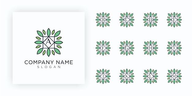 Set di logo natura creativa con la lettera iniziale