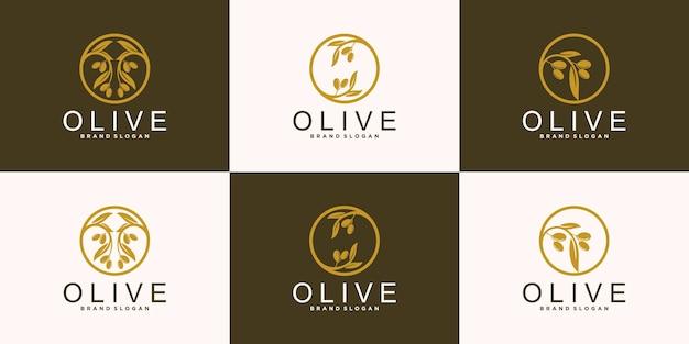 Set di design creativo del logo dell'albero di olio d'oliva con una moderna forma a foglia vettore premium